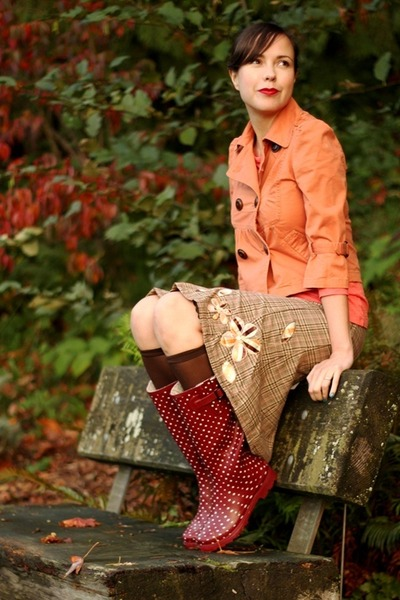 crimson Chooka boots - orange American Rag jacket - salmon Jcrew shirt