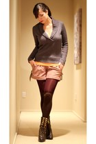 dark brown Marco Santi boots - charcoal gray Jcrew sweater - maroon tights