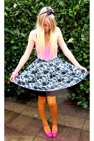 black accessories - pink H&M top - blue H&M dress - yellow tights - pink asos sh