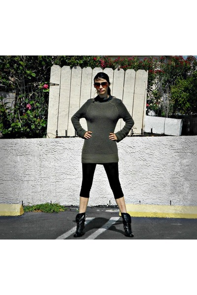 black boots - black leggings - dark brown sunglasses - olive green sweatshirt