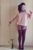 light pink Zara sweater - crimson Zara shirt