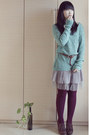 Dark-brown-dfuse-shoes-turquoise-blue-knit-cache-cache-sweater-maroon-tights