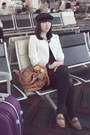 Black-hat-brown-elle-loafers-maroon-forever-21-skirt