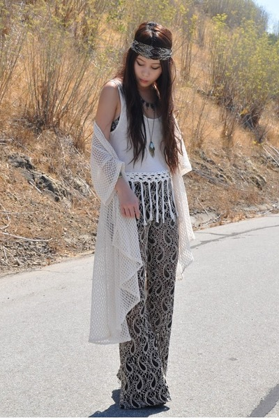 child of wild necklace - PacSun accessories - MinkPink top - ShopWasteland pants