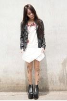 black UNIF boots - black Zara jacket - neutral Bebaroque tights - Zara top