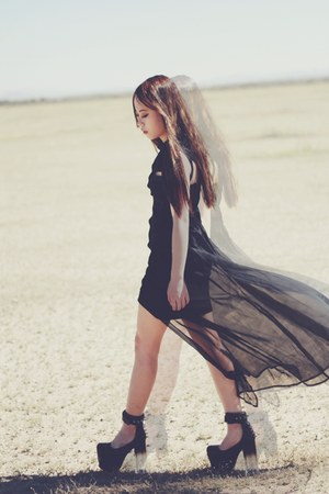black UNIF godspeed dress - black UNIF marychains heels