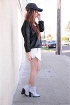 Shoe Cult boots - Widow hat - Zara shorts - Front Row Shop jumper
