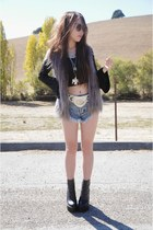 black gypsy warrior top - black Jeffrey Campbell boots - One Teaspoon shorts