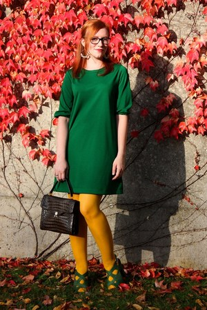 green Zara dress - yellow H&amp;M tights - dark brown vintage bag