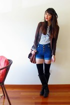 blue high waist primak shorts - black Primark boots