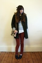 forest green thrifted coat - black brogues Primark shoes