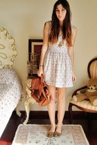 cream Love at Topshop dress - tawny H&M bag - bronze Primark loafers