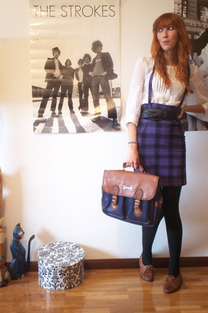 H&amp;M shirt - H&amp;M skirt - H&amp;M belt - Calzedonia stockings - Wicked Plum Vintage sh