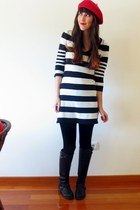 black Primark boots - black striped H&M dress - red beret H&M hat