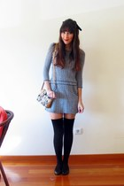 blue tweed BLANCO dress - tawny cat a gift bag - black H&M flats