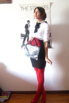 white H&M shirt - red H&M hat - black H&M skirt - black vintage accessories - re