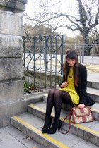 black a gift shoes - yellow Primark dress - black Primark blazer