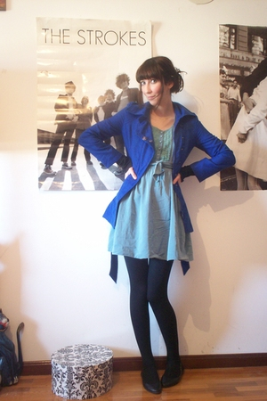 blue second hand dress - blue asoscom coat - black second hand shoes