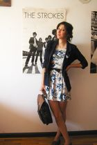 white Love at Topshop dress - blue Primark blazer - brown second hand accessorie