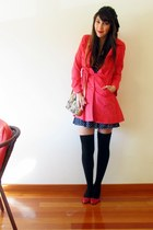 red united colors of benetton coat - navy H&M dress