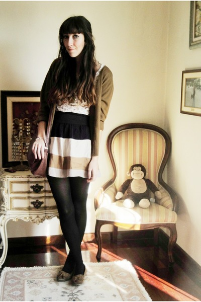 brown vintage bag - eggshell Zara skirt - tawny Primark loafers