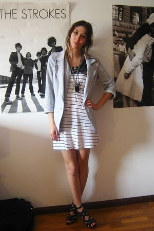 gray Primark blazer - white Primark dress - black Zara shoes - silver given to m