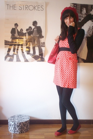 red H&M hat - black H&M shirt - red second hand shoes - red second hand dress -