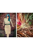 suede vintage skirt - Vintage Krizia blouse - vintage Donna Karan belt