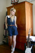 navy Dahlia romper - ivory lace H&M socks