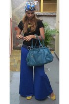 blue pants - blue hat - black shirt - sky blue bag - gold flats - gold necklace