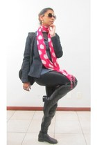 hot pink scarf - black over the knees boots - navy jeans jacket