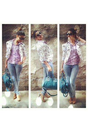 blue jeans - camel shoes - white blazer - turquoise blue bag - amethyst blouse