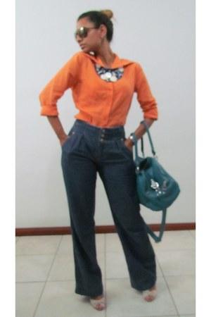 navy pants - orange shirt - sky blue purse - navy necklace - eggshell sandals