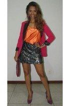charcoal gray skirt - magenta shoes - hot pink blazer - carrot orange shirt