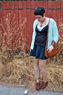 Blue-cardigan-black-top-blue-dress-blue-skirt-brown-shoes-brown-bag