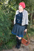 jacket - sweater - purse - striped socks socks - jean skirt skirt - jean skirt s