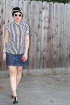 black Steve Madden shoes - peach hat - blouse