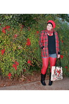 black boots - red JP Collectible blazer - red red tights We Love Colors tights