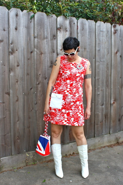 white boots - red dress - red Butt Ugly bag