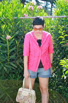 pink sweater - black christian dior top - blue LEI shorts - beige ambassador bag