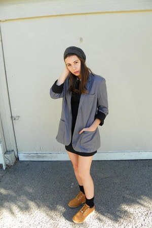bronze Timberlands boots - black PERSUNMALL dress - gray thrifted blazer