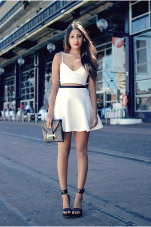 white leather bardot top