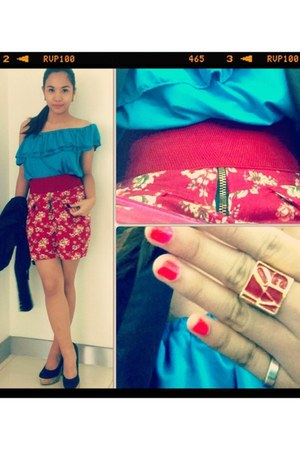 red flowery skirt - red love twinflames ring