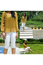 blouse - bag - shorts - flats