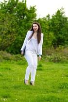 white H&M jeans - white Zara blazer - black Claire Beneteau bag