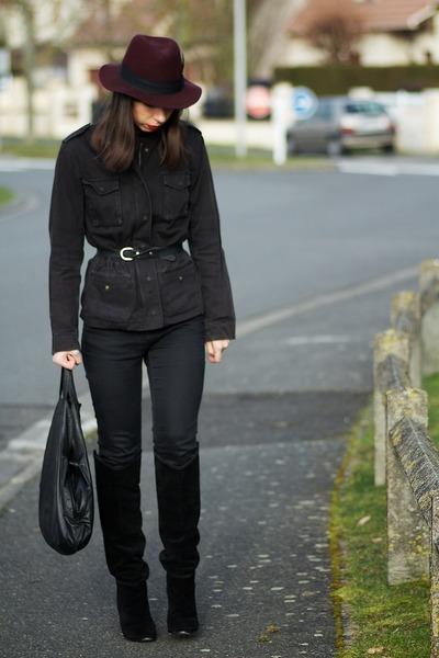 black Zara boots - black Topshop jeans - crimson H&M hat