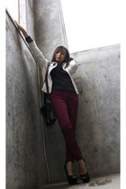 H&M sweater - leather Only jacket - TheySkens Theory bag - H&M pants