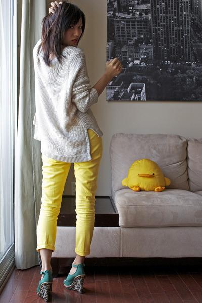 H&M sweater - Zara pants - Lela Rose for Payless wedges