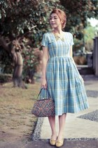 sky blue plaid vintage anna periska dress - crimson Vintage Liz Claiborne bag