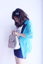 periwinkle vintage dress - aquamarine sheer blazer aplus blazer - off white leat